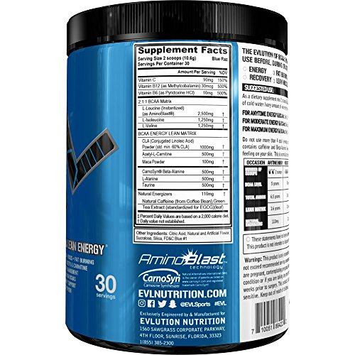 Evlution Nutrition BCAA Lean Energy Energizing Amino Acid for Muscle Building Recovery and Endurance, With a fat burning formula, Cherry Limeade, 30 Servings