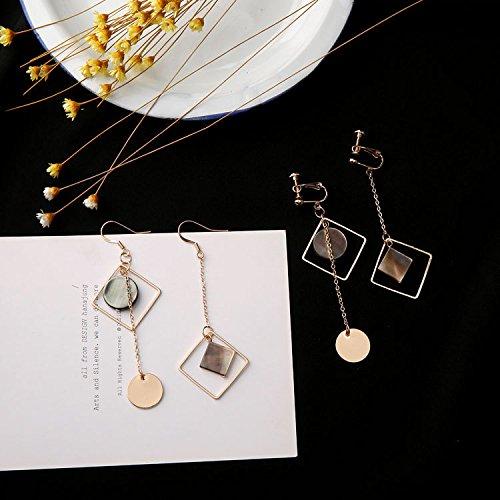 usongs minimalist handmade geometric mosaic seashell earrings square necklace pendant earrings non pierced -
