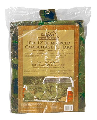 10' Polyethylene Plastic Bags - Texsport Heavy-Duty Reinforced Multi-Purpose Waterproof Reversible Camo Olive Drab Tarp