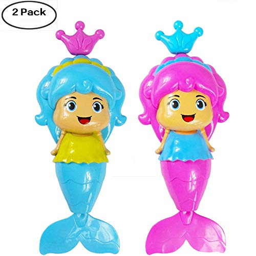 IMEIJU 2PCS Mermaid Baby Bath Toy, Mermaid Wind Up Floating Water Toy in Swimming Pool,Beach Bathing,Bath Tub for Kids and Toddlers. ( Color Random )