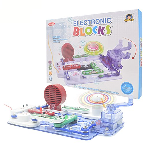 Circuits Kits, 34pcs Electronics Discovery Kit with Hand Generating Lighted fan, FM Radio, Traffic Light