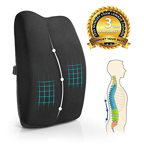 Mkicesky Lumbar Support Pillow for Office Chair, Car & Chair, 100% Pure Memory Foam Back Cushion, Full Posture Corrector Relief Lower Back Pain, Black