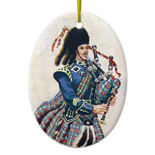 Diungfoong Vintage Scotland Follow The Bagpipes Printed Ceramic Ornament
