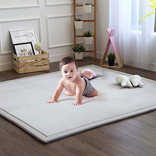 Baby Play Mat, Soft Play Rugs for Boys Girls Infant Baby Toddler Nursery, Thick Grey Rug for Living Room, Playroom, Classroom, Nursery and Dormitor Foam Mat Tatami Mat Exercise Mat 59 by 78 Inch from MAXYOYO