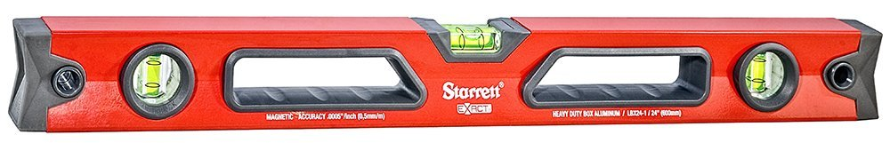 Starrett Exact KLBX24-1-N Aluminum Box Beam Magnetic Level with 3 Block Vials, 24'' Length