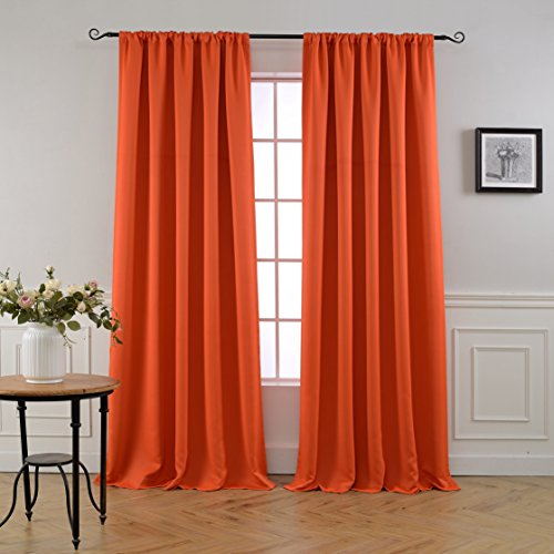 Mysky Home Thermal Insulated Blackout Back Tab and Rod Pocket Curtains for Doors, 52 x 95 Inches, Orange (2 Panel Set)
