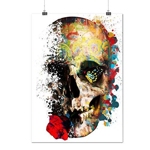 Skull Sugar Rose Art War Flower Matte/Glossy Poster A3 (42cm x 30cm) | Wellcoda