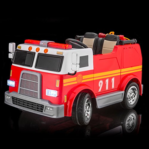 (SUPERtrax Big Rig Emergency Kid's Ride On 4 Wheel Drive Firetruck Toy Car 12V - EVA Foam Rubber Tires, Remote Control, Leather Seat, Free MP3 Player - Red)