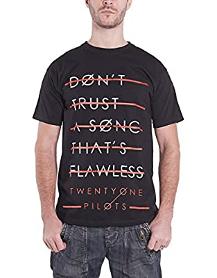 21 Twenty One Pilots T Shirt Trust Lines Lane Boy Official Mens Black