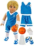 Blue Basketball Player Uniform for Boy Doll | Fits 18' American Girl Dolls, Madame Alexander, Our Generation, etc. | 18 Inch Doll Clothes