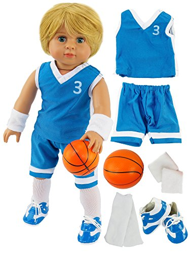 "Blue Basketball Player Uniform for Boy Doll | Fits 18"" American Girl Dolls, Madame Alexander, Our Generation, etc. 