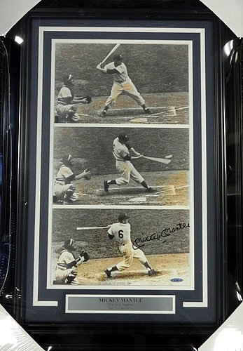 [Mickey Mantle Signed Framed 11x19 Slide Show Photo Rookie #6 Shot UDA #AUC36142 - Autographed MLB Photos] (Mickey Mantle Signature)
