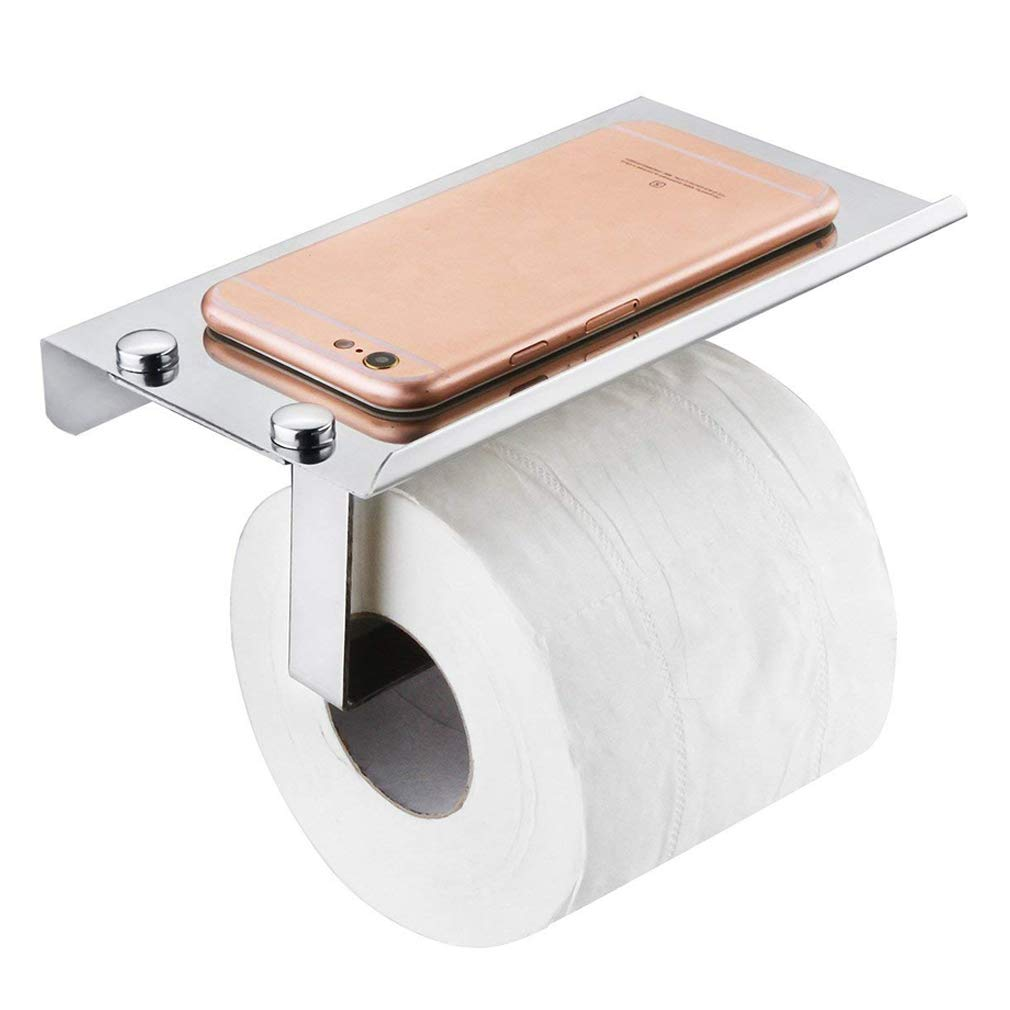 Toilet Paper Holder SUS304 Stainless Steel Wall Mount Bathroom Tissue Roll Holder with Mobile Phone Storage Shelf and Mounting Accessories HOMEE
