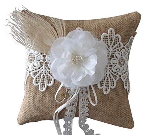 - SPHTOEO Vintage Feather flower ring pillow natural garden bride wedding 6 inch x6 inch