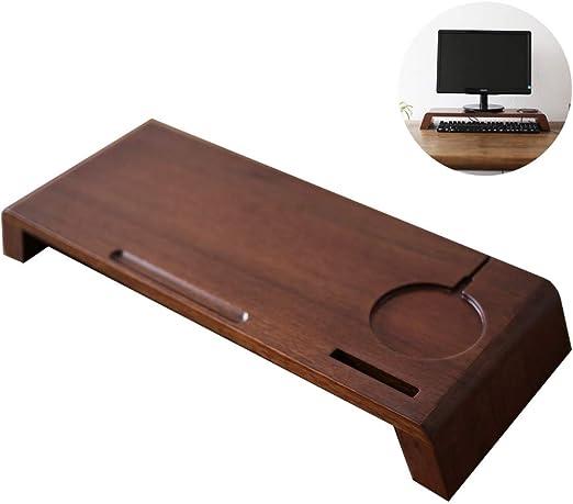 Madera Monitor Stand, escritorio vertical para la computadora ...