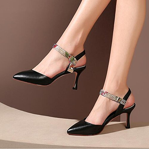 Serpentina CN37 altos EU37 Tamaño Sandalias 5 5 YXINY Color Zapatos Blanco UK4 7 Moda Negro 5CM de Tacones mezclados tacón mujer negro Blanco Colores fxSn8q