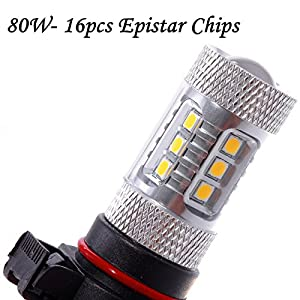 VoRock8 PS24W 5202 H16 High Power 80W 16pcs-Epistar Chip LED Daytime Driving Light Fog Driving Bulb Replacement with Projector - Premium Gold Color - Fit Front Fog or DRL Lamp Bulbs - Pair of 2
