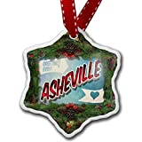 Christmas Craft Tree Decorations Greetings From Asheville Vintage Postcard Christmas Ornament Custom Xmas Gift