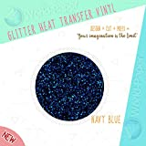Glitter Heat Transfer Vinyl Full Roll 20'' or 10'' x 27 Yards -6 COLORS- IRON-ON HTV (10'' x 27 Yards, Navy Blue)