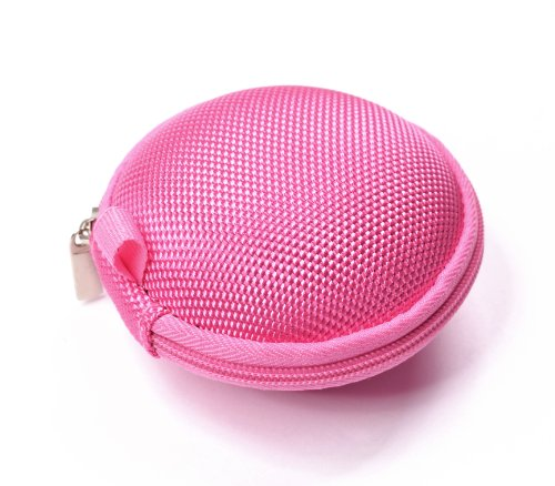 Cosmos Pink bluetooth handsfree headset HARD EVA Case - Clamshell/MESH Style with Zipper Enclosure, Inner Pocket, and Durable Exterior for Aliph Jawbone 2, Aliph Jawbone Prime, Jabra BT804 + Cosmos cable tie