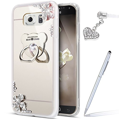 Galaxy Note 5 Case,Galaxy Note 5 Mirror Case,ikasus Inlaid diamond Flowers Rhinestone Diamond Glitter Bling Mirror Back TPU Case & Bear Ring Stand Holder +Touch Pen Dust Plug for Galaxy Note 5,Silver