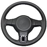 vw golf mk5 steering wheel - XuJi Hand Sewing Black Genuine Leather Steering Wheel Cover for Volkswagen Golf 6 Mk6 VW Polo MK5 2010 2011 2012 2013