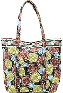 product image for Stephanie Dawn Large Square Bottom Tote Citrus Harvest New Quilted Handbag USA 10001-006