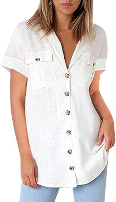 COZOCO Camisa Casual De Botones con Botones De Bolsillo Camisa De Manga Corta Robe Suelta Top Shirt: Amazon.es: Ropa y accesorios