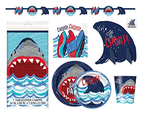 Shark Theme Party Supplies - Plates, Cups, Napkins and Decorations - Boys Pool or Birthday Party Supplies (Deluxe - Serves 16) -