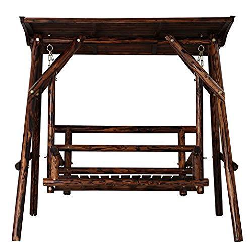 ブランコ 屋根付き 木製 遊具 2人用 焼杉 大型 ガーデンファニチャー 屋外遊具 エクステリア 椅子 チェアー B07NWYWDWM