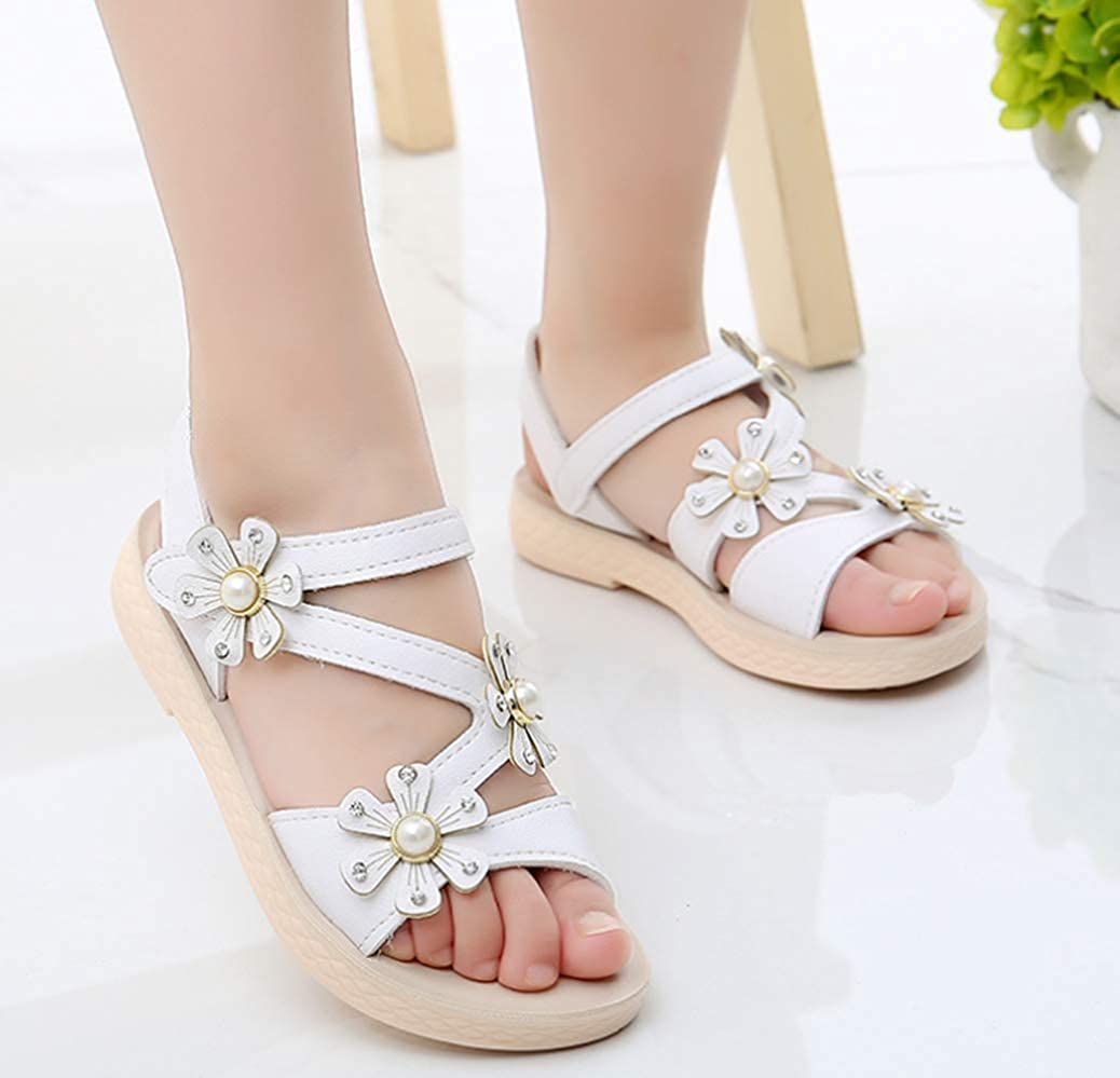 LFHT Girls Open Toe Beach Sandals Rhinestone Summer Fashion Flower Princess Flats Shoes