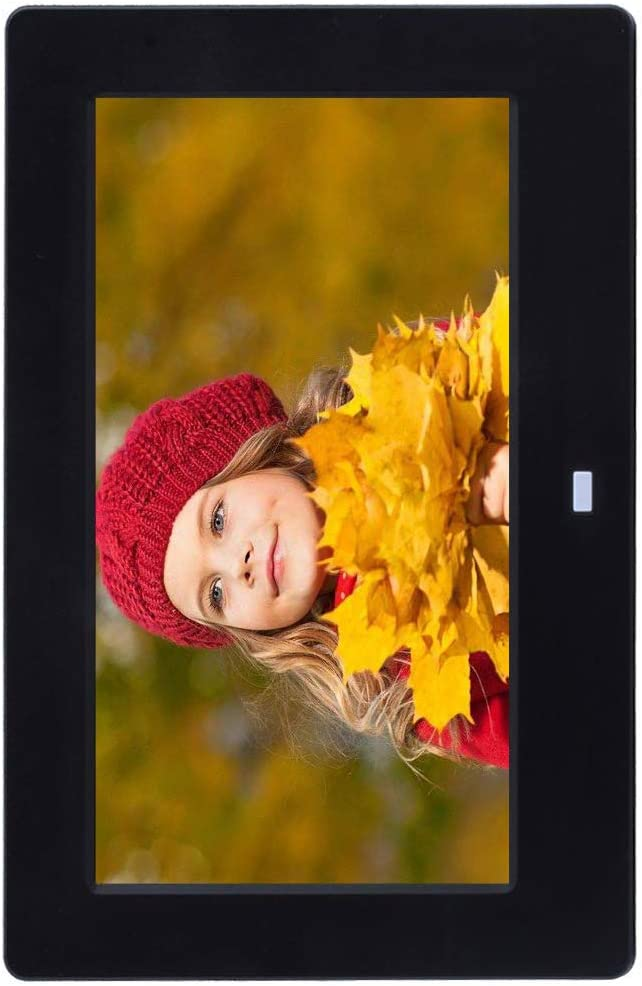 Digital Photo Frame 7-Inch LED Display 800X400 Resolution Digital Photo and HD Video Frame USB//SD Card Play with Remote Control,White 16:9
