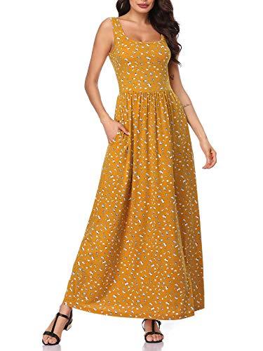 MSBASIC Misses Dresses Boho Dresses for Women Plus Size Yellow Floral XXL ()