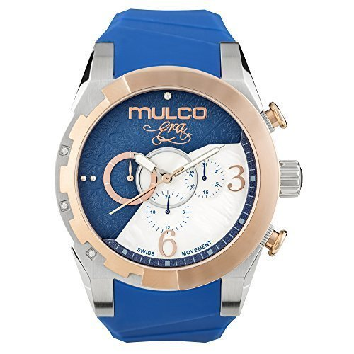 Mulco Era Bella Quartz Swiss Chronograph Movement Women's Watch | Mother of Pearl Sundial with Swarovski Accents | Silicone Watch Band | Water Resistant Stainless Steel (Blue) (Chronograph Blue Of Pearl Mother)