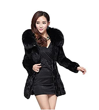 YR.Lover Women's Real Mink Fur Long Coat With Fox Fur Hood and ...