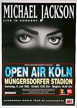 Michael Jackson - 1992 - Póster de concierto - Dangerous - Tour Póster - Colonia: Amazon.es: Hogar