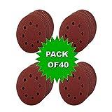 Pack of 40 Orbital Sander Sanding Discs Hook & Loop Punched 115mm Dia 60 80 120 240 Grit Coarse & Fin