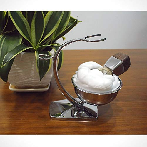 GRUTTI Deluxe Chrome Razor and Brush Stand with Bowl, Compatible with Manual Razor, Safety Razor, Gillette Fusion Razor, This Will Prolong The Life of Your Shaving Brush