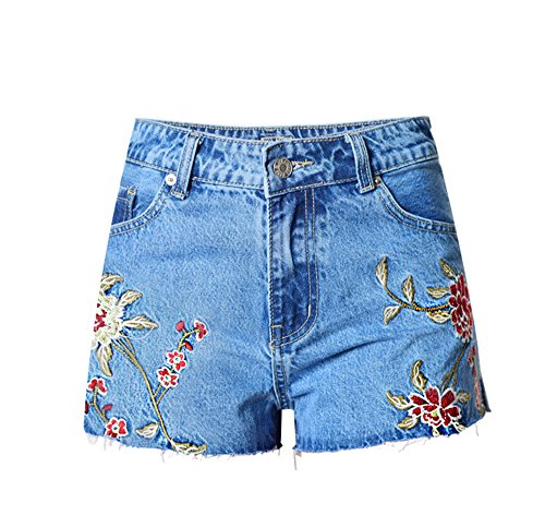 Dreamskull Women High Waist Frayed Hem 3D Daisy Floral Embroidered Denim Shorts.M