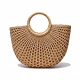 Nature Handmade Women Woven Rattan Tote Bags Straws Handbag Purse