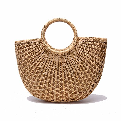 Jollque Nature Handmade Women Woven Rattan Tote Bags Straws Handbag Purse by Jollque