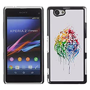 Qstar Arte & diseño plástico duro Fundas Cover Cubre Hard Case Cover para Sony Xperia Z1 Compact / Z1 Mini / D5503 ( Watercolor Neon Portrait Lion Africa Big Cat)