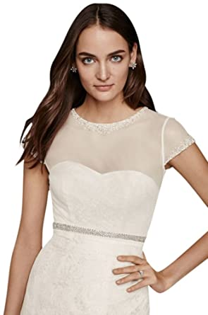 David\'s Bridal Beaded Net Cap Sleeve Topper Style OW1010 at Amazon ...