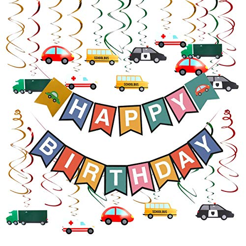 Cieovo Colorful Transportation Cars Trucks Buses Hanging Swirl Decoration, Cars Theme Happy Birthday Banner Garland for Transportation Themed Birthday Baby Shower Party Supplies]()
