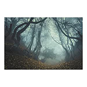 9ft x 6ft Halloween HAUNTED FOREST backdrop wall banner PHOTO prop DECORATION