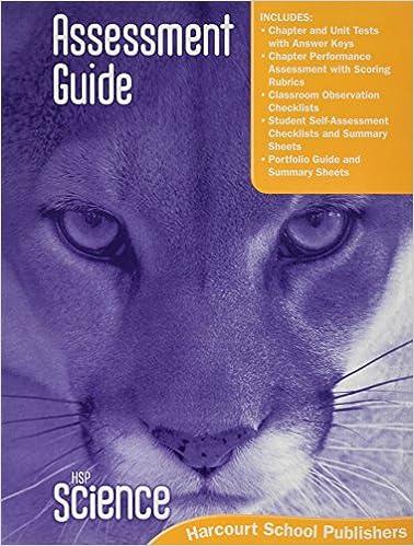 HSP Science 2009 Assessment Guide Grade 5 Harcourt