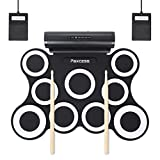 9-Pad Foldable Electronic Drum Set, Paxcess Electric Roll up Drum Pads MIDI Drum Kit with Headphone Jack, Built-in Battery&Speaker, Drum Sticks, Foot Pedals for Kids Practice Drum Starters