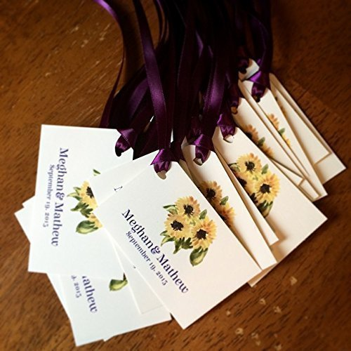 Set of 10 Rustic Sunflower favor tags w/ ribbon ()