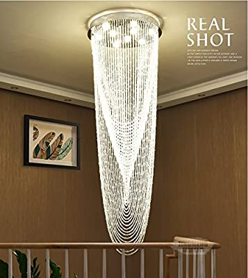 "Saint Mossi Crystal Rain Drop Chandelier Modern & Contemporary Ceiling Pendant Light 9 GU10 Bulbs Required H71"" X D24"""