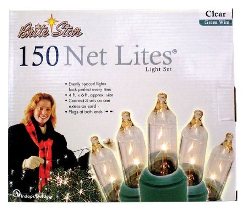 - Holiday Essentials 150 Net Lights - Clear Bulbs with Green Wire - Indoor / Outdoor Use - UL Listed